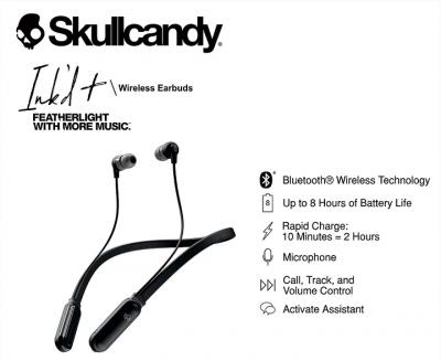 Skullcandy Inkd Plus Wireless in-Earphone with Mic-Black